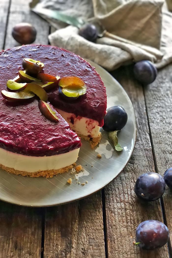 Zwetschgen Ricotta Cheesecake no-bake