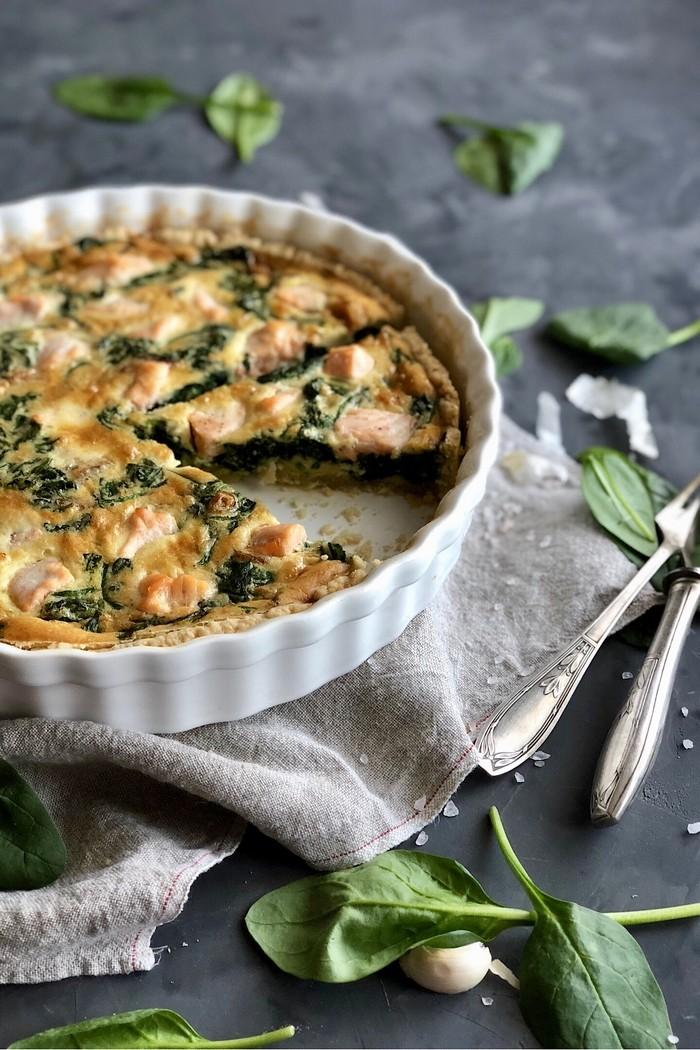 Spinat Quiche mit Lachs
